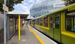 Dart at the Lansdowne Road Station with Aviva Stadium in the background