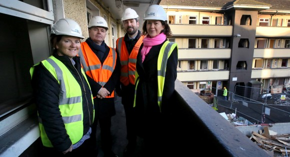 NO REPRO FEE 15/12/2017 Cluid Housing begins €21M regeneration of north east inner city flat complex. This morning, Cluid Housing began a €21M redevelopment of St. Mary's Mansions flat complex in Dublin's North East inner city. Pictured at the photocall to mark the beginning of this highly anticipated regeneration project with former resident Susan Kane, left, are Cluid's New Business Director, Fiona Cormican, Minister for Finance and Public Expenditure and Reform, Paschal Donohoe TD, and Minister for Housing, Planning and Local Government, Eoghan Murphy TD. The flat complex was built by Dublin Corporation nearly 70 years ago and is in need of total refurbishment to bring it up to current standards. The regeneration works are scheduled for completion in mid-2019 and, when complete, will provide high quality social housing to 80 local families and single people. The works will include the addition of two new floors and will be laid out as 1, 2, 3 and 4 bedroom apartments and duplexes. PHOTO: Mark Stedman